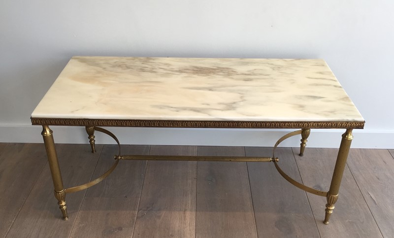 Neoclassical Brass Coffee table with White Marble-barrois-antiques-50s-31136-main-636816070661110037.JPG