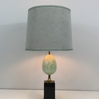 Painted Ostrich Egg and Brass Table Lamp on Black
