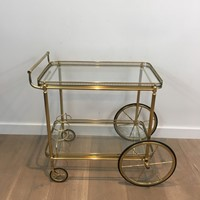 Neoclassical Brass Trolley with Large Wheels