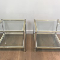 Pair of Chrome, Gilt and Silver Metal Side Tables