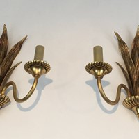 Pair of Bronze and Brass Palm Tree Sconces. 1970's