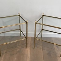 Pair of Neoclassical Brass Side Tables