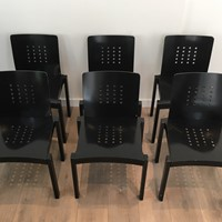 Thonet. Set of 6 Rare Design Black Wood Chairs.