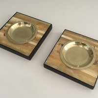 Pair of Wood and Brass Ashtrays or Vide-Poches