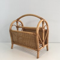 Rattan Magazine Rack. French. Circa 1970