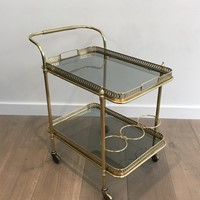 Neoclassical Brass Trolley with Blueish Glass