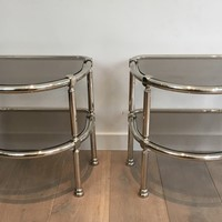 Pair of Chrome Rounded Side Tables