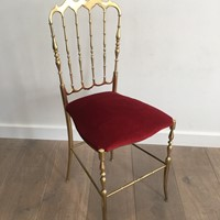 Brass and Red Velvet Chiavari Chair. Circa 1940
