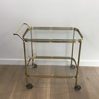 Neoclassical Brass Drinks Trolley. French. 1940's