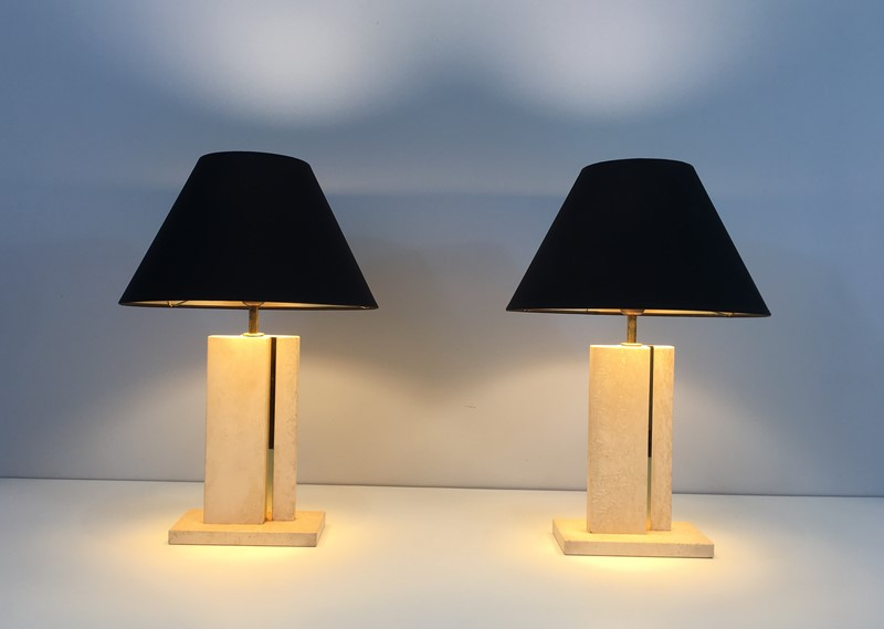 Pair of Travertine and Brass Table Lamps. 1970's-barrois-antiques-50s-34754-main-637042239558389636.jpg
