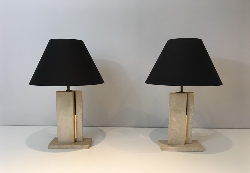 Pair of Travertine and Brass Table Lamps. 1970's-barrois-antiques-50s-34757-main-637042239965313380.jpg