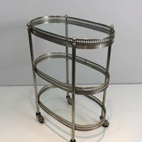 Oval Small Silver Plated on Brass Drinks Trolley