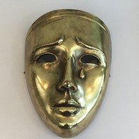 Ceramic Gilt Mask. Signed. Portugal. Circa 1970