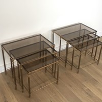 Att to Maison Jansen. Pair of Brass Nesting Tables