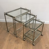 Maison Bagués. Set of 3 Silvered Nesting Tables