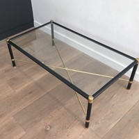 Jacques Adnet Style. Brass & Leather Coffee Table