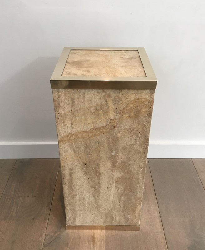 Travertine and Brass Column. French-barrois-antiques-50s-36628-main-637247157555661347.JPG