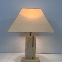 Travertine and Brass Table Lamp with Original Shad