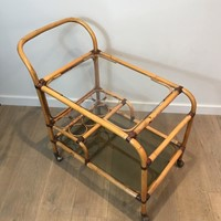 Interesting Rattan Drinks Trolley with Leather