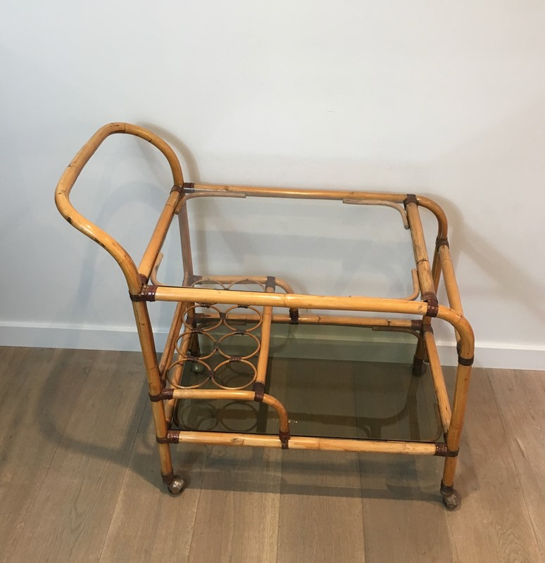 Interesting Rattan Drinks Trolley with Leather-barrois-antiques-50s-36668-main-637247171575601621.jpg