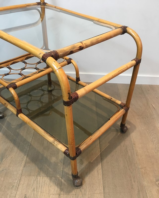 Interesting Rattan Drinks Trolley with Leather-barrois-antiques-50s-36673-main-637247171697475482.jpg
