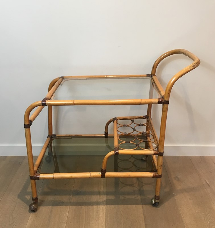Interesting Rattan Drinks Trolley with Leather-barrois-antiques-50s-36678-main-637247172039504484.jpg