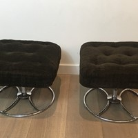 Pair of Chrome and Velvet Swivel Ottoman. French.