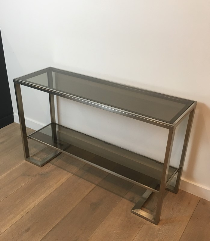 Att. to Guy Lefèvre. Brushed Steel Console Table-barrois-antiques-50s-36864-main-637276076343643090.jpg