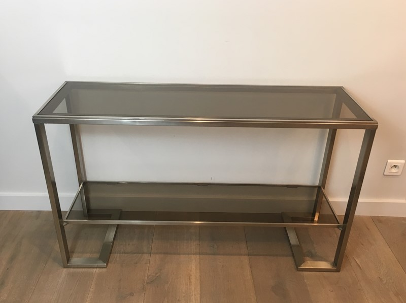 Att. to Guy Lefèvre. Brushed Steel Console Table-barrois-antiques-50s-36865-main-637276076677862456.jpg