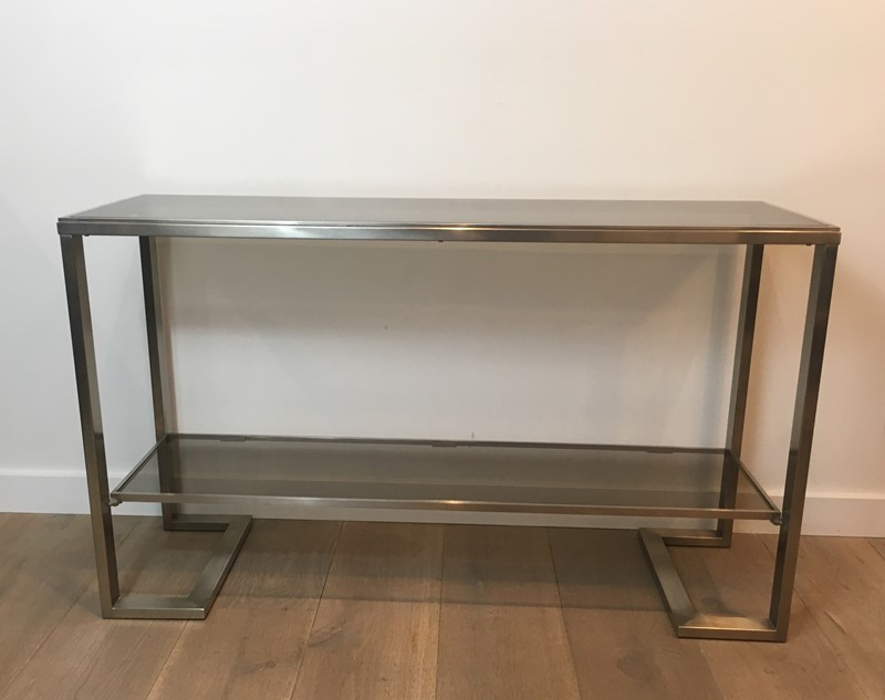 Att. to Guy Lefèvre. Brushed Steel Console Table-barrois-antiques-50s-36866-main-637276076701765358.jpg