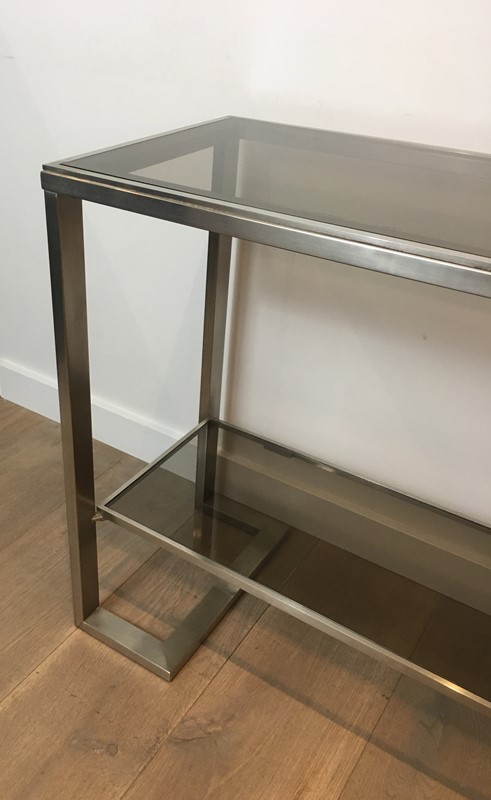 Att. to Guy Lefèvre. Brushed Steel Console Table-barrois-antiques-50s-36867-main-637276076723327518.jpg