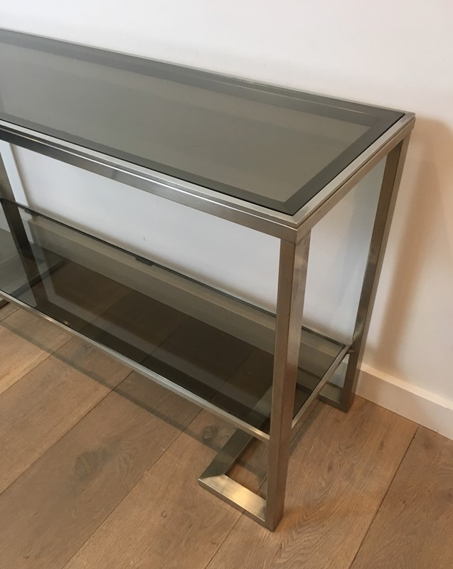 Att. to Guy Lefèvre. Brushed Steel Console Table-barrois-antiques-50s-36871-main-637276076817077101.jpg