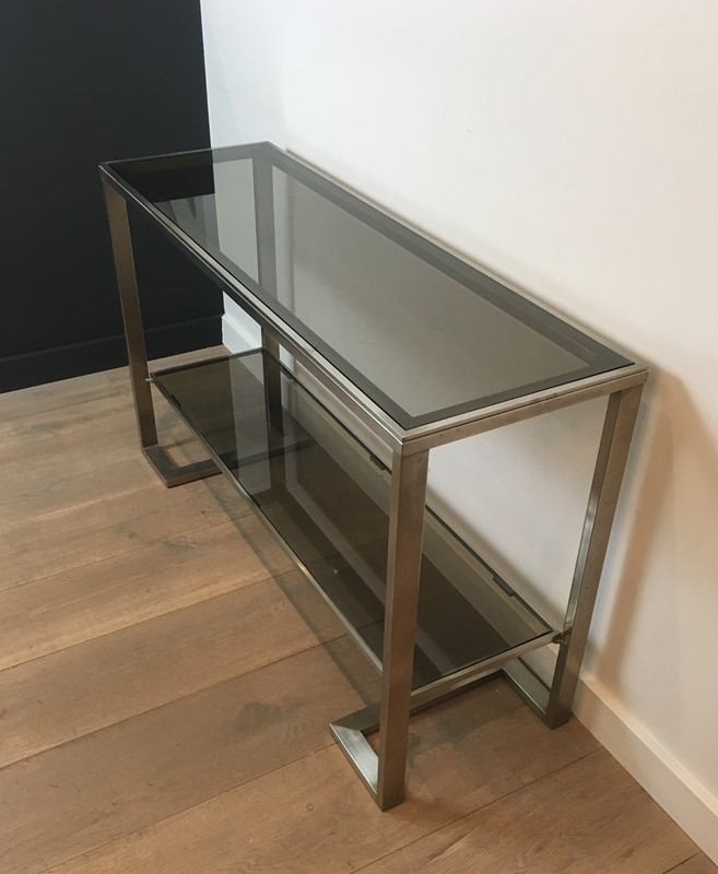 Att. to Guy Lefèvre. Brushed Steel Console Table-barrois-antiques-50s-36872-main-637276076845514531.jpg