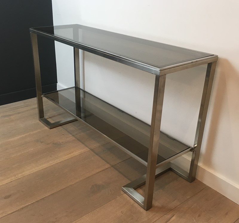 Att. to Guy Lefèvre. Brushed Steel Console Table-barrois-antiques-50s-36873-main-637276076869732987.jpg