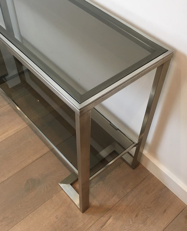 Att. to Guy Lefèvre. Brushed Steel Console Table-barrois-antiques-50s-36874-main-637276077260043278.jpg