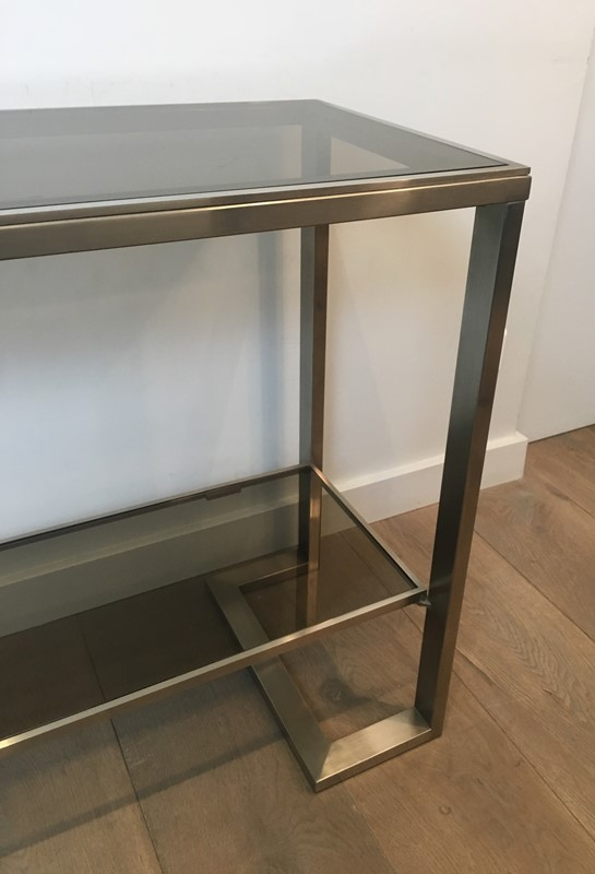 Att. to Guy Lefèvre. Brushed Steel Console Table-barrois-antiques-50s-36875-main-637276077286137327.jpg