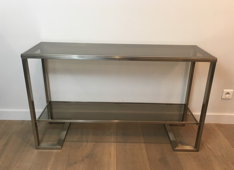 Att. to Guy Lefèvre. Brushed Steel Console Table-barrois-antiques-50s-36876-main-637276077311918181.jpg