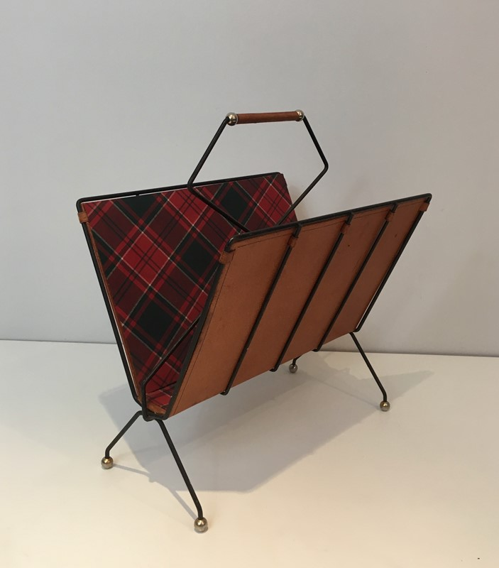 Black Metal, Leather & Square Fabric Magazine Rack-barrois-antiques-50s-37421-main-637285022948677219.jpg