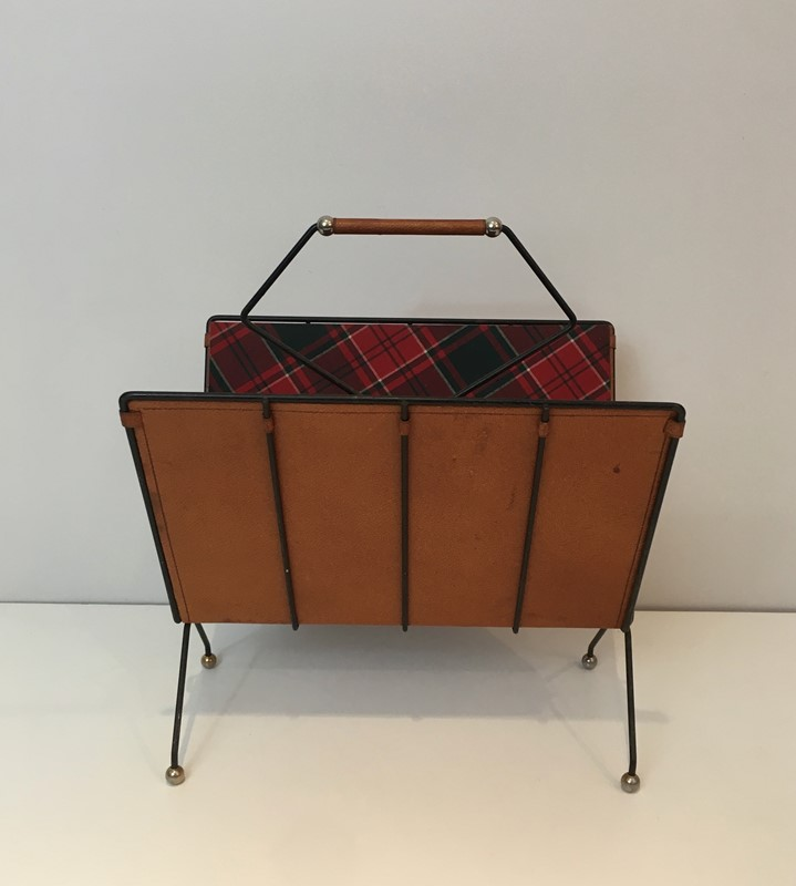 Black Metal, Leather & Square Fabric Magazine Rack-barrois-antiques-50s-37423-main-637285023238363680.jpg