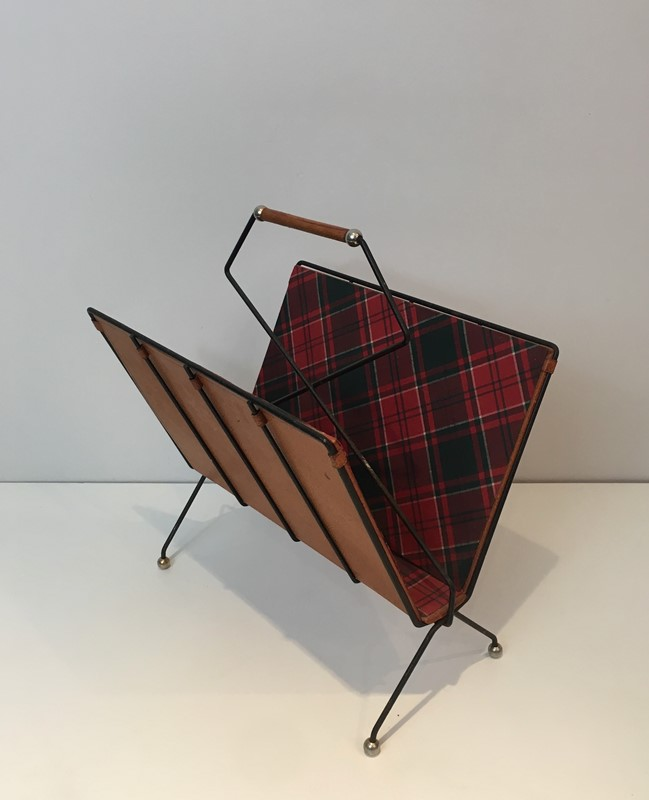 Black Metal, Leather & Square Fabric Magazine Rack-barrois-antiques-50s-37424-main-637285023258987817.jpg