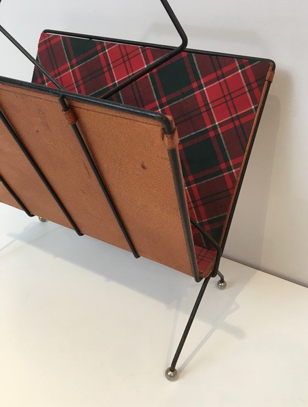 Black Metal, Leather & Square Fabric Magazine Rack-barrois-antiques-50s-37426-main-637285023302737602.jpg