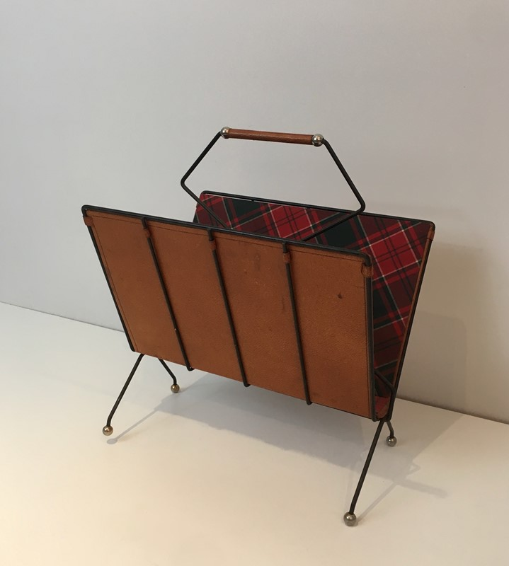 Black Metal, Leather & Square Fabric Magazine Rack-barrois-antiques-50s-37429-main-637285023381487177.jpg