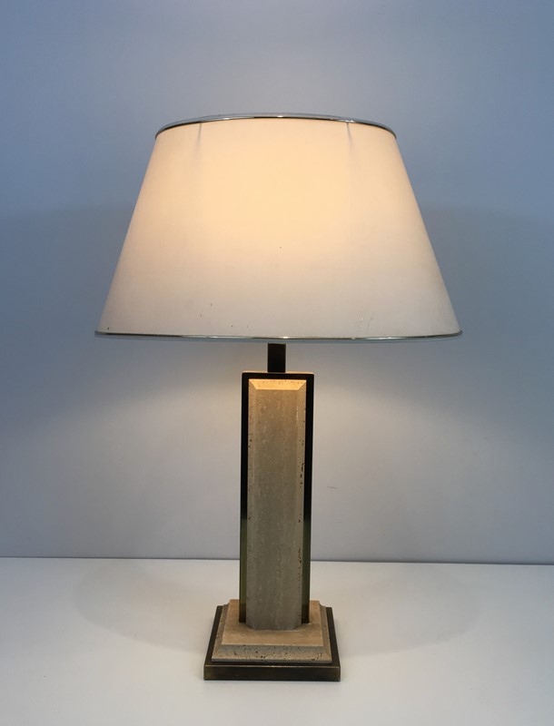 Travertine and Gilt Chrome Table Lamp. French-barrois-antiques-50s-37455-main-637285033522533822.jpg