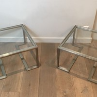 Pair of Design Brushed Steel Side Tables