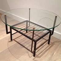 Mathieu Matégot Style. Black Metal Coffee Table