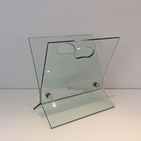 Glass and Brushed Steel Design Magazine Rack.