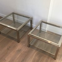 Pair of Large Chrome Side Tables