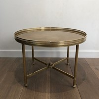Maison Jansen. Small Round Brass Coffee Table