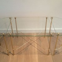 Maison Bagués. Tripartite Brass Coffee Table