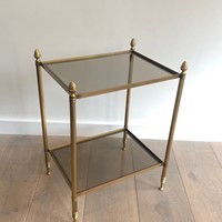 Maison Bagués. Brass Side Table with Smoked Glass